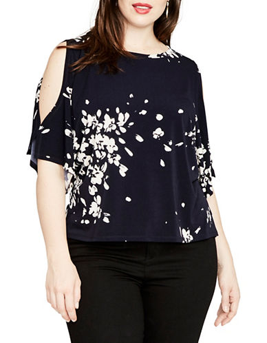 Rachel Rachel Roy Plus Floral Cold-Shoulder Top-BLUE-1X