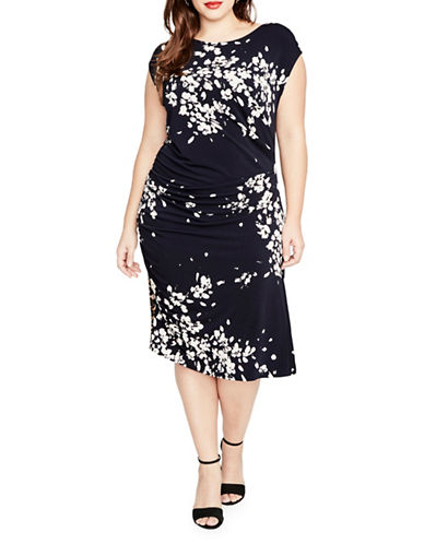 Rachel Rachel Roy Plus Floral Knit Dress-BLUE-2X