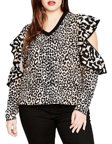 Rachel Rachel Roy Plus Ruffled Sleeve Sweater-WHITE MULTI-2X