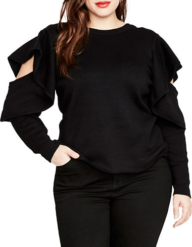 Rachel Rachel Roy Plus Ruffled Sleeve Sweater-BLACK-2X