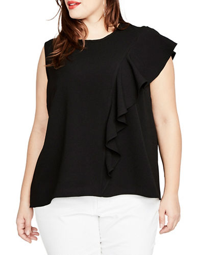 Rachel Rachel Roy Plus Inset Ruffle Top-BLACK-1X
