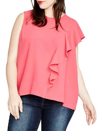 Rachel Rachel Roy Plus Inset Ruffle Top-PINK-1X