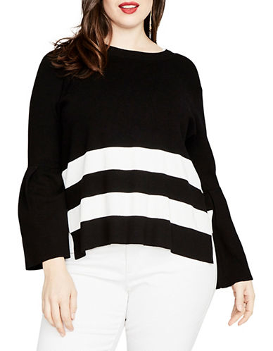 Rachel Rachel Roy Plus Oversized Striped Sweater-BLACK-2X