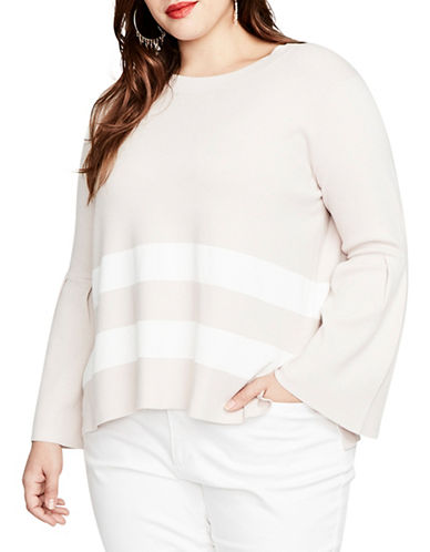 Rachel Rachel Roy Plus Oversized Striped Sweater-PINK-2X