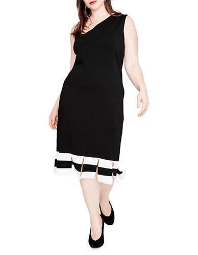 Rachel Rachel Roy Plus Carwash Striped Dress-BLACK-3X