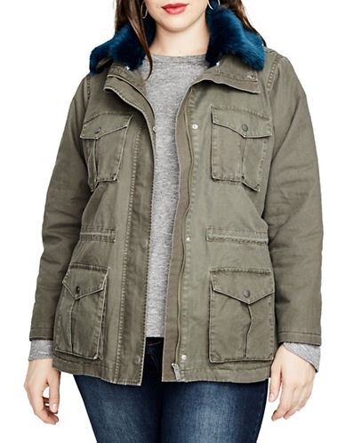 Rachel Rachel Roy Plus Faux Fur Collar Cotton Parka-GREEN-2X