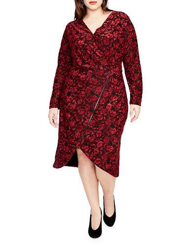Rachel Rachel Roy Plus Floral Terry Zip Front Midi Dress-RED-1X