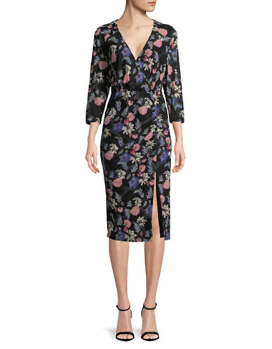 Rachel Rachel Roy Floral-Print Ruched Midi Dress-BLACK MULTI-Large
