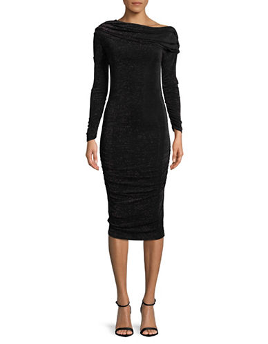 Rachel Rachel Roy Off-The-Shoulder Midi Dress-BLACK-Large