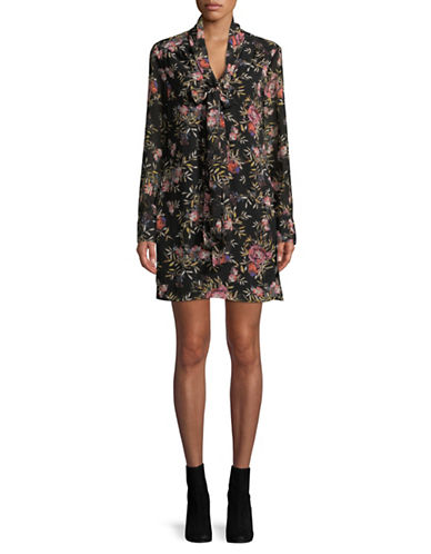 Rachel Rachel Roy Floral-Print Chiffon Dress-BLACK-6