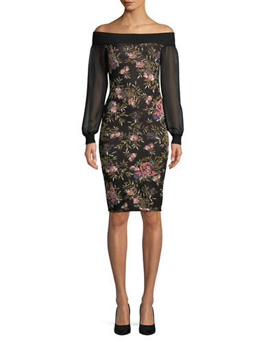 Rachel Rachel Roy Floral Jacquard Sweater Dress-BLACK-X-Small