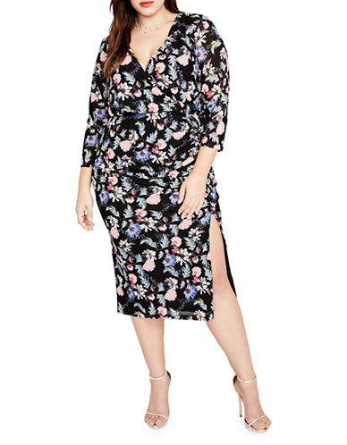 Rachel Rachel Roy Plus Dolman Rouched Printed Midi Dress-BLACK MULTI-2X