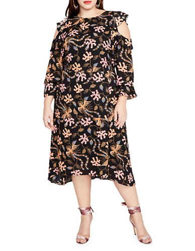 Rachel Rachel Roy Plus Cold Shoulder Print Midi Dress-ASSORTED-16W