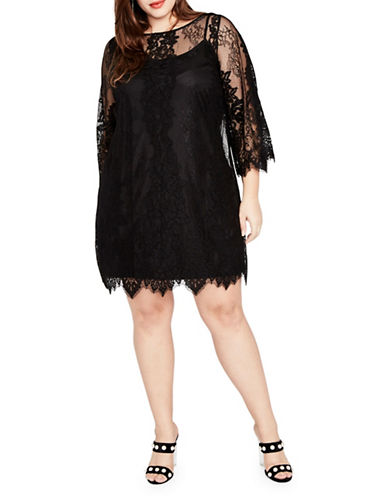 Rachel Rachel Roy Plus Bell Sleeve Lace Dress-BLACK-14W