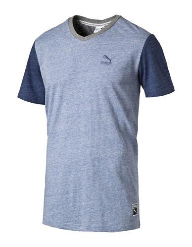 Puma Heathered Colourblock T-Shirt-BLUE-X-Large 88824882_BLUE_X-Large