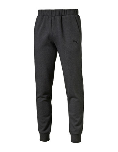 Puma Essential Fleece Sweat Pants-CHARCOAL-Medium
