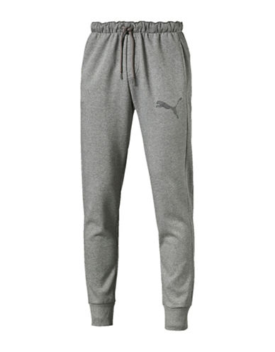 Puma Sweatpants with Emboidery Cat Logo-GREY-Medium