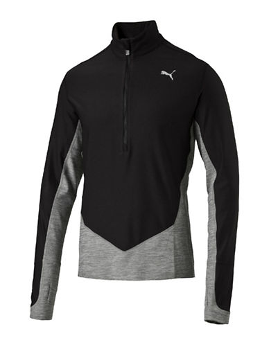 Puma Long Sleeve Half Zipper Jacket-BLACK-Medium 88661555_BLACK_Medium