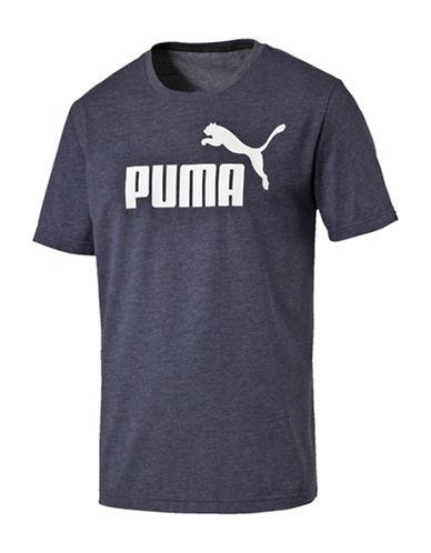 Puma Heathered Logo Crew Neck T-Shirt-GREY-Large 89083774_GREY_Large
