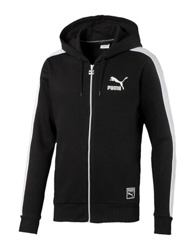 Puma T7 Full-Zip Fleece Hoodie-BLACK-Medium 88509397_BLACK_Medium