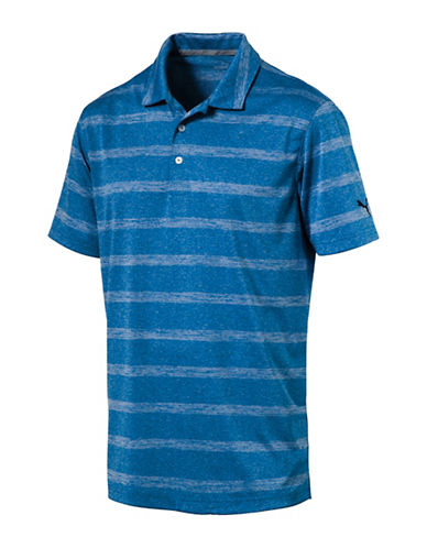 Puma Pounce Striped Polo-BLUE-Medium