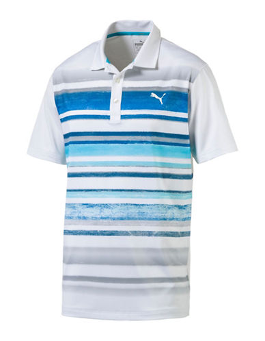 Puma Stripe Patterned Polo-WHITE-Small
