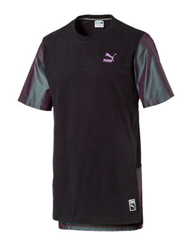 Puma Colourblock Cotton T-Shirt-PUMA BLACK-Medium