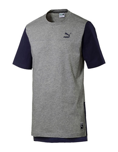 Puma Colourblocked Cotton Tee-GREY-Large