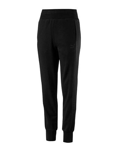 Puma Satin T7 Sweat Pants-COTTON BLACK-X-Large