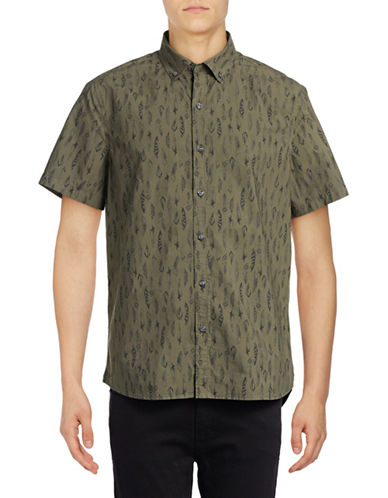 Michael Bastian Feather-Printed Woven Sport Shirt-GREEN-Small