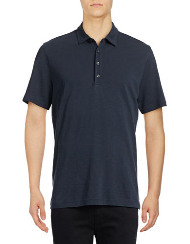 Michael Bastian Pima Cotton Slub Polo-NAVY-Large