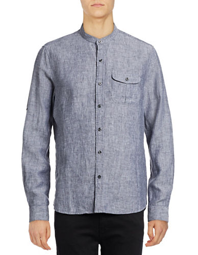 Michael Bastian Woven Linen Shirt-NAVY-Large