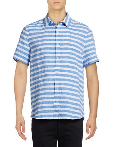 Michael Bastian Striped Linen Sport Shirt-BLUE-X-Large