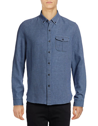 Michael Bastian Dobby Mini Check Sport Shirt-BLUE-Medium
