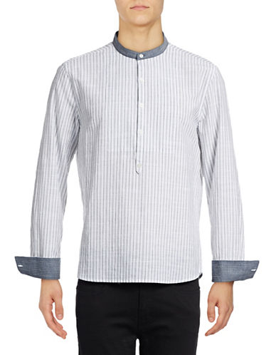 Michael Bastian Woven Striped Shirt-BLUE-Large