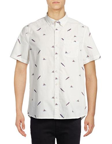 Michael Bastian Shark Bite Printed Sport Shirt-WHITE-X-Large