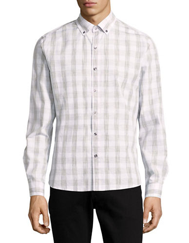 Michael Bastian Space Dye Plaid Sport Shirt-GREY-X-Large