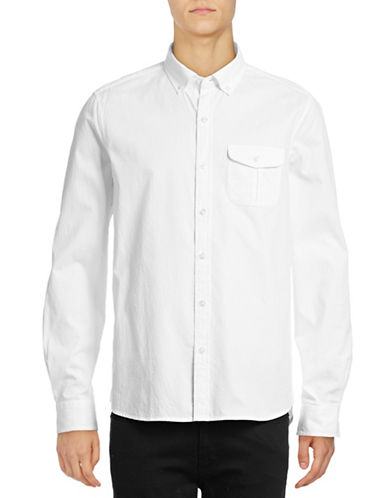 Michael Bastian Diamond Dobby Sport Shirt-WHITE-Small