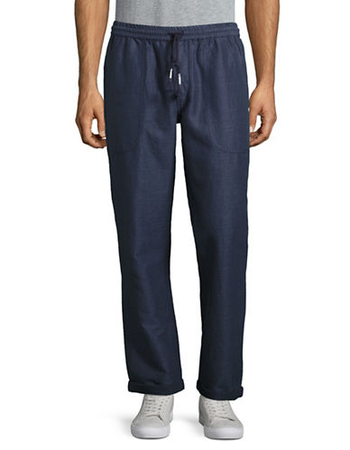 Michael Bastian Linen Twill Pants-BLUE-Large 89023556_BLUE_Large