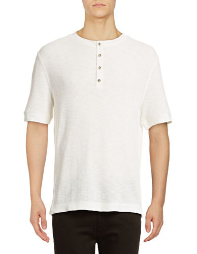 Michael Bastian Waffle Henley T-Shirt-NATURAL-Medium