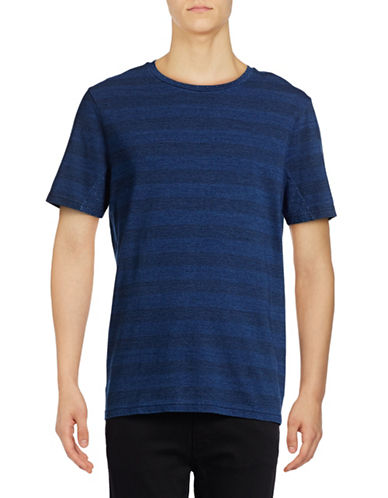 Michael Bastian Striped Crew Neck T-Shirt-BLUE-X-Large