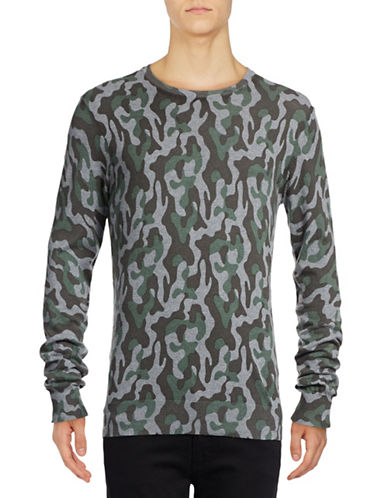 Michael Bastian Camo-Printed Crew Neck Sweater-GREY-Small