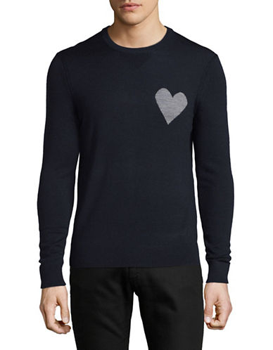 Michael Bastian Heart-On Wool-Blend Sweater-NAVY-Medium