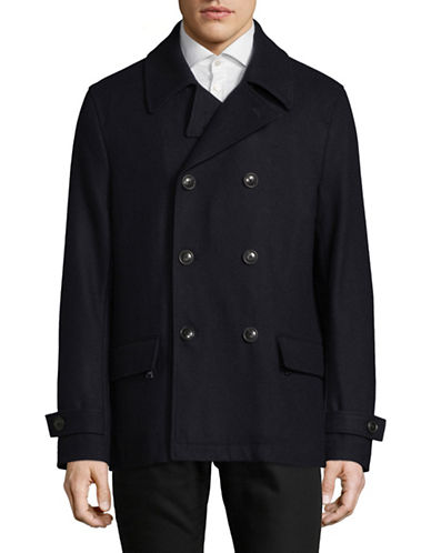 Michael Bastian Classic Wool-Blend Peacoat-NAVY-X-Large