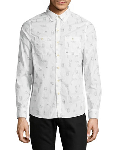 Michael Bastian Camp Print Sport Shirt-WHITE-X-Large
