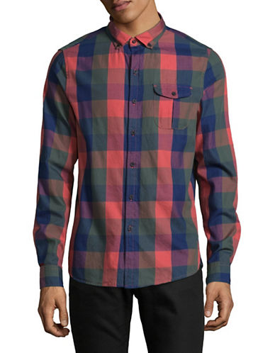 Michael Bastian Indigo Buffalo Plaid Shirt-INDIGO-Small