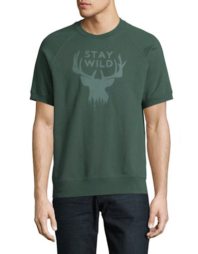 Michael Bastian Stay Wild Graphic Short-Sleeve Sweatshirt-GREEN-Large