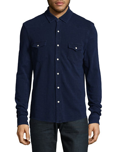 Michael Bastian Pique-Knit Western Shirt-INDIGO-X-Large