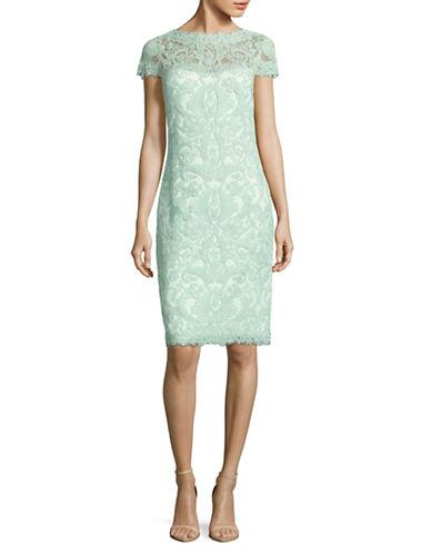 Tadashi Shoji Cap Sleeve Lace Sheath Dress-GREEN-10