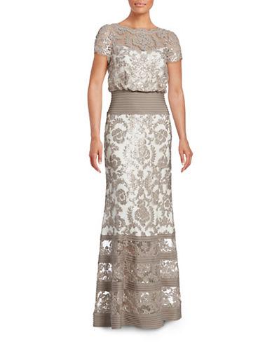 Tadashi Shoji Sequined Lace Blouson Gown-BEIGE-10
